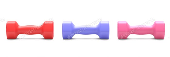 Dumbbells various colors isolated on white. 3d illustration