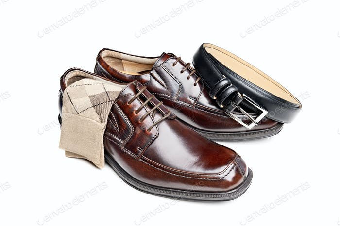 Brown leather shoes with socks and belt