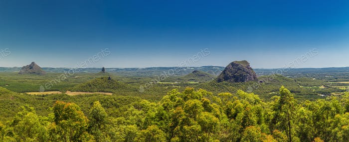Panoramic view of Glasshouse Mountains on the Sunshine Coast fro