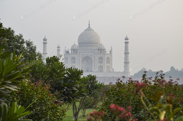 Exterior view of the Taj Mahal palace and mausoleum, a UNESCO world heritage site,