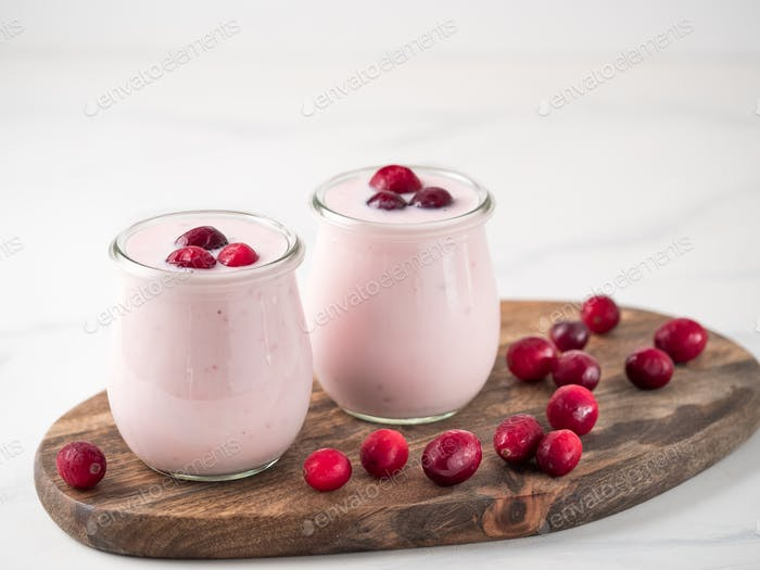 Yogurt with cranberry, copy space