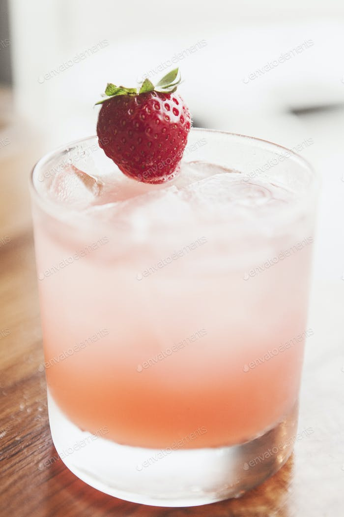 Mixed Drink with a Strawberry