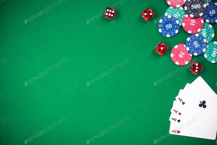 Casino and poker games, green cloth border bacground