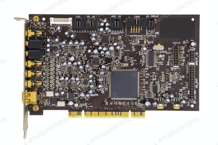 Computer sound card on white background