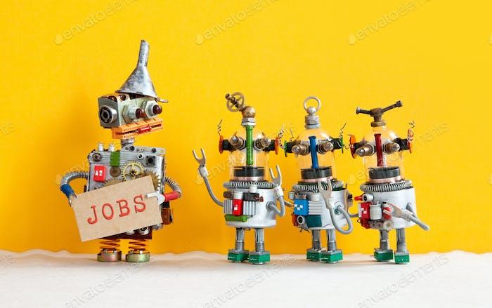 Три робота хотят устроиться на работу и стоять в очереди на собеседование.