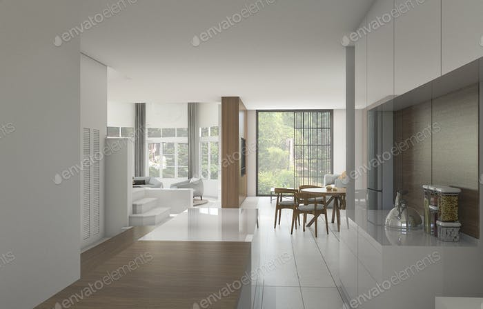 3d rendering nice counter kitchen near dining room with garden
