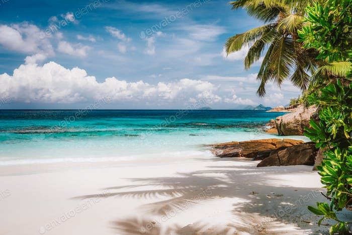 Holiday vacation visiting exotic tropical sandy beach on Mahe Island, Seychelles. Exotic travel