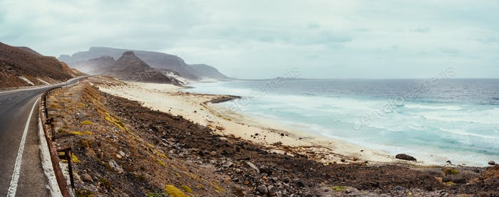Calhau coast, Sao Vicente Island Cape Verde. Road along breathtaking volcanic landscape and atlantic