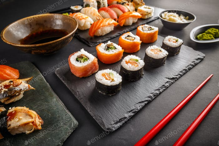 Different kinds of sushi roll
