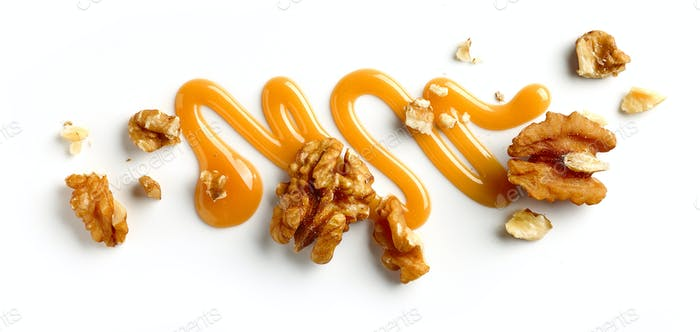 walnuts and caramel sauce