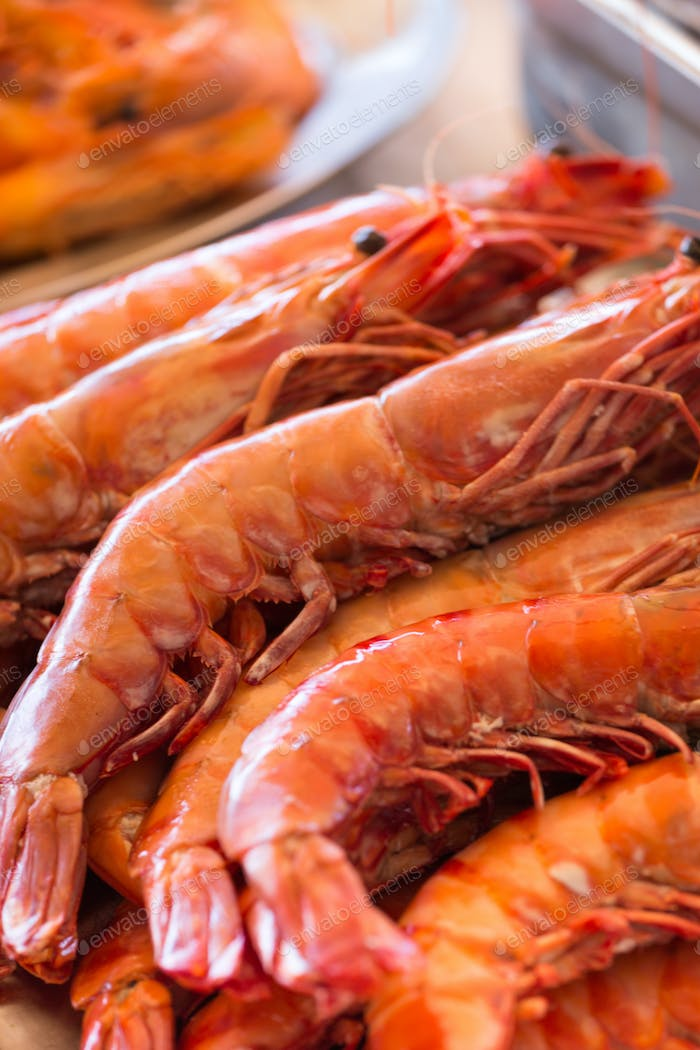 Close up of fresh shrimps