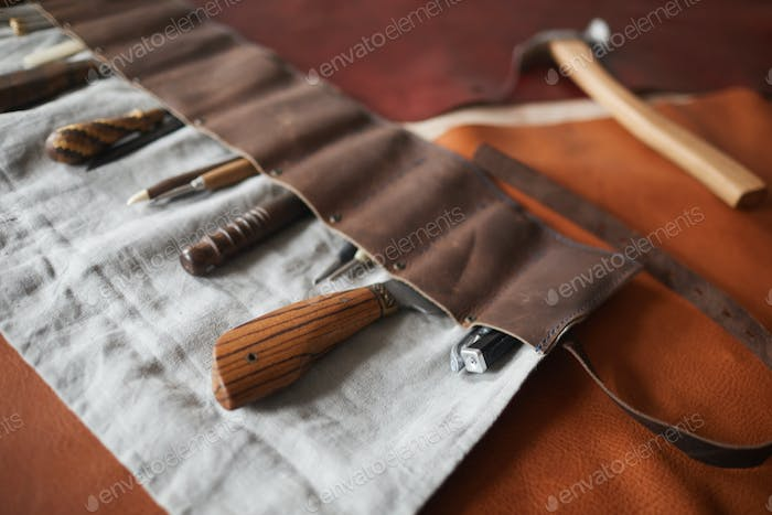 Tools In Handmade Leather Case