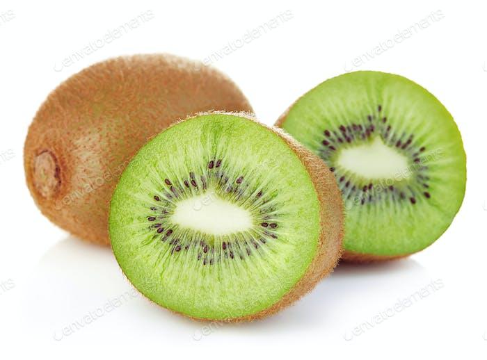 Kiwi fruit close-up isolated on white background.