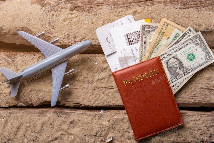 Toy plane and passport