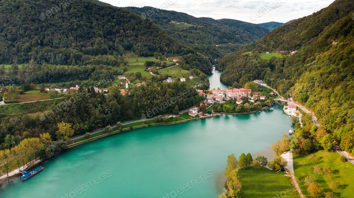Most Na Soci Town at Emerald Lake Edge. Aerial View of Slovenia