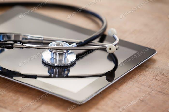 Stethoscope on digital tablet