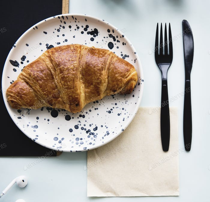 Aerial view of croissant pastry