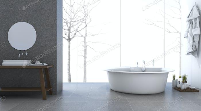 3d rendering bright minimal bathroom in winter