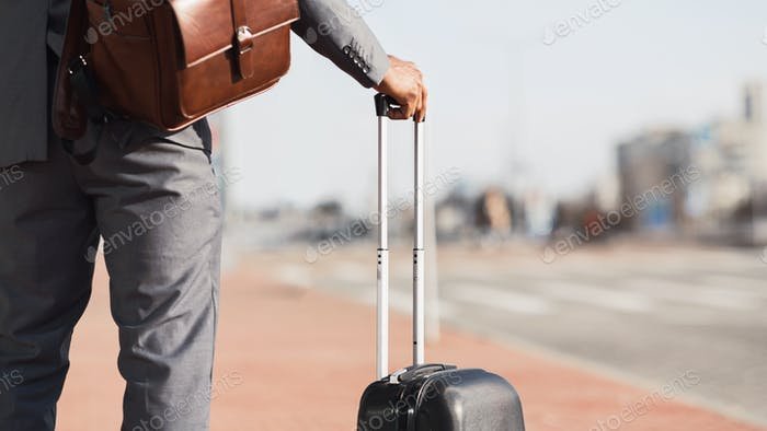 Unrecognizable Gentleman On Business Journey Standing With Suitcase Outdoors, Panorama