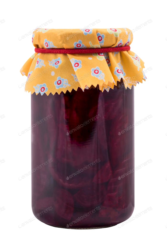 Jar with fermented beetroot food, isolated on white