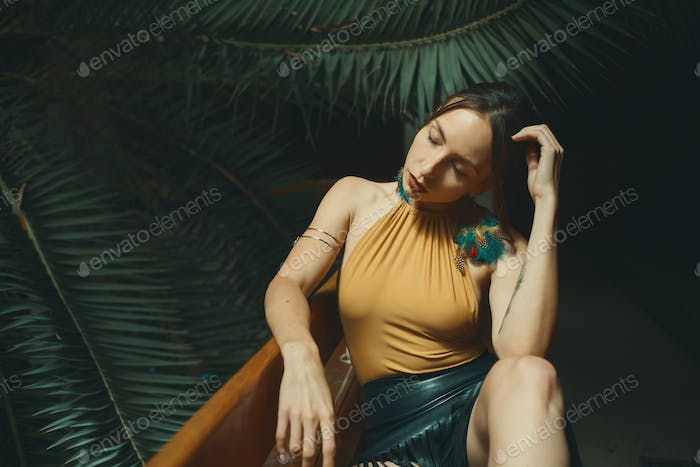 Woman closed eyes, beauty, relaxation and recreation concept.