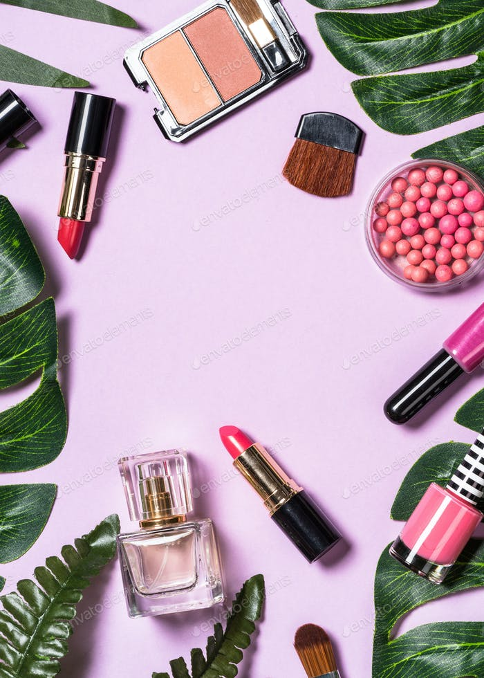 Makeup professional cosmetics on purple background