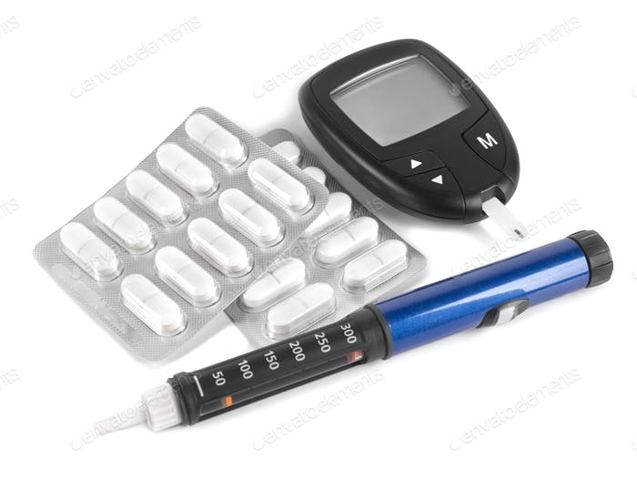 Insulin pen, pills, glucometer and test stripe