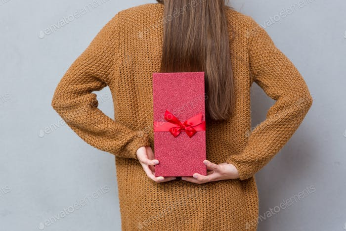 Rear view of female hands holding a gift box
