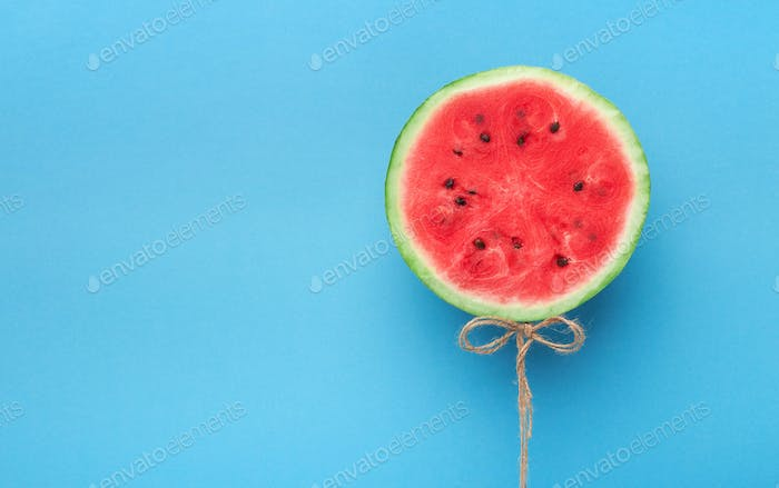 Watermelon balloon on blue background. Creative idea