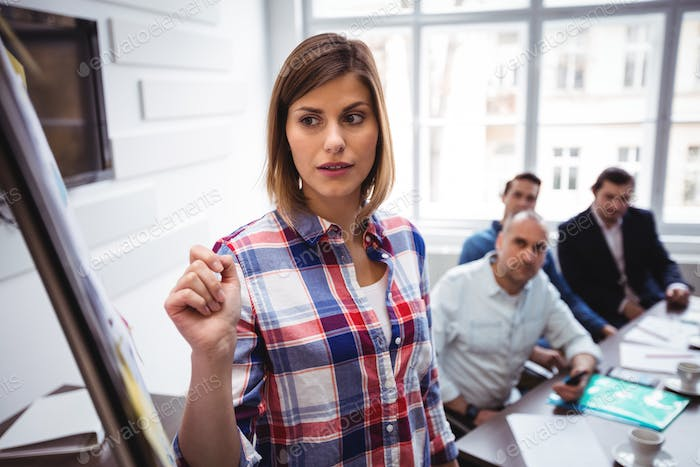 Confused businesswoman giving presentation