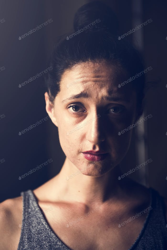 Woman with sad face expression