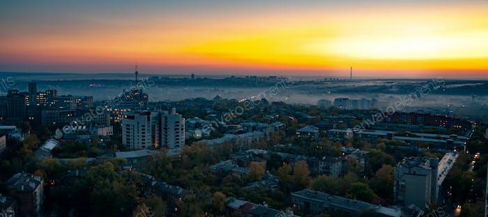 Aerial view fog over a provincial European city