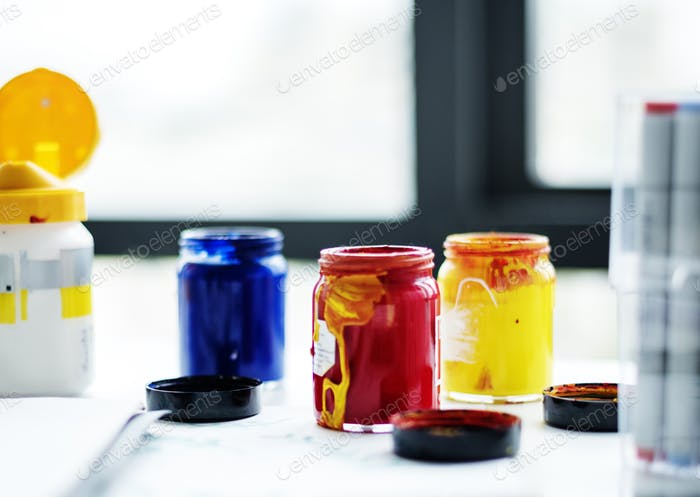 Color bottle on the table by the window