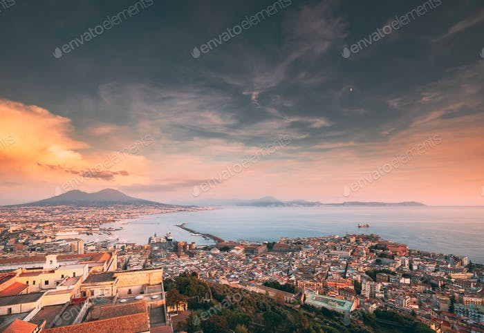 Naples, Italy. Skyline Cityscape City In Evening Sunset. Tyrrhen