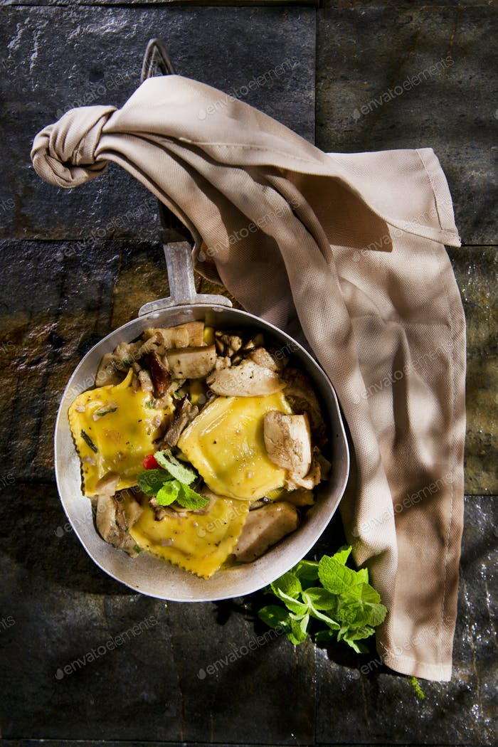 Pan Of Mushroom Ravioli