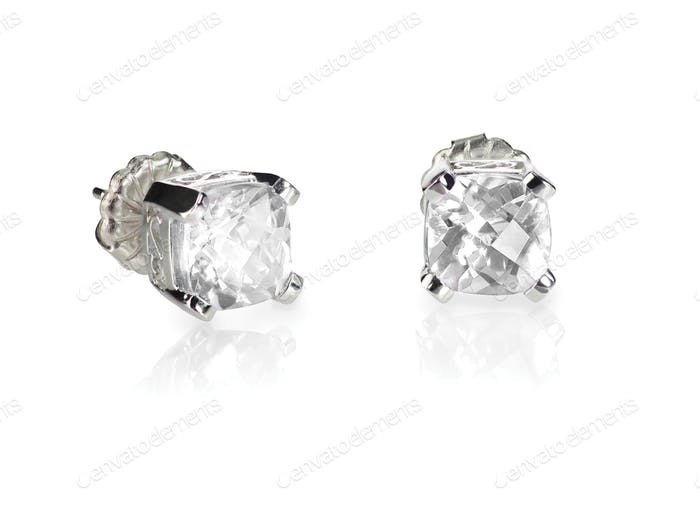 Pair of diamond stud cushion cut white quarts earrings