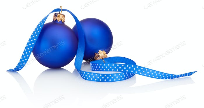 two blue christmas balls and ribbon isolated on white background - Blue Christmas Balls