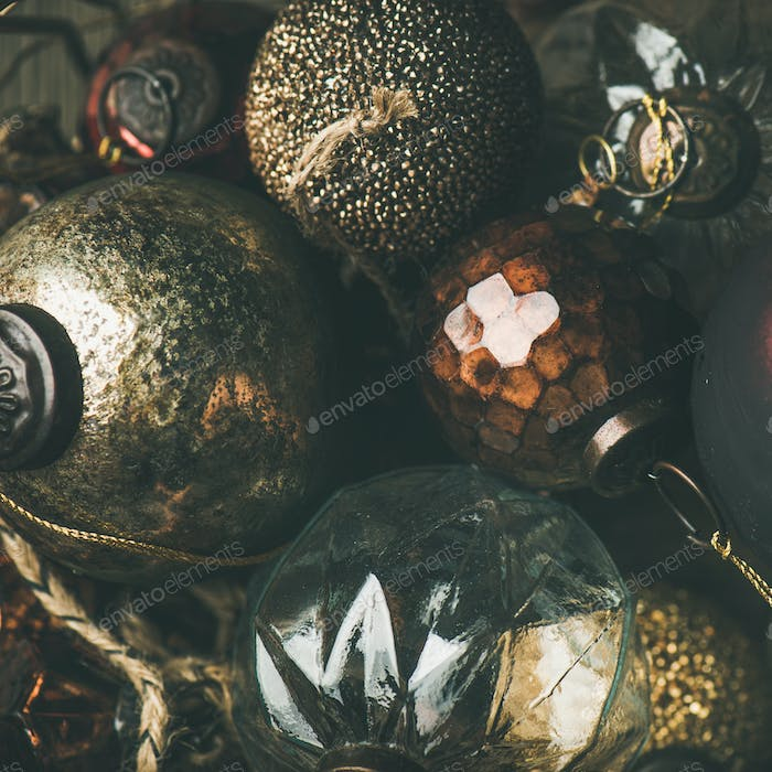 Vintage Christmas or New Year holiday decoration balls, square crop