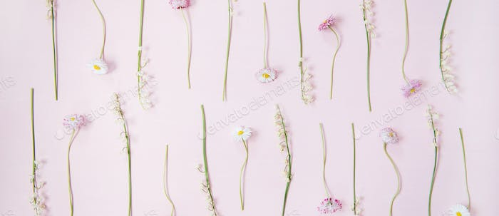 Flat-lay of lily of the valley and daisy flowers over pastel pink background, wide composition
