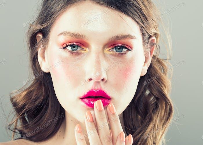 Female colorful makeup beauty fashion style