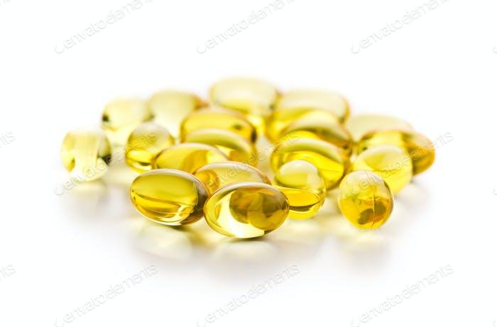 Omega 3 gel capsules.