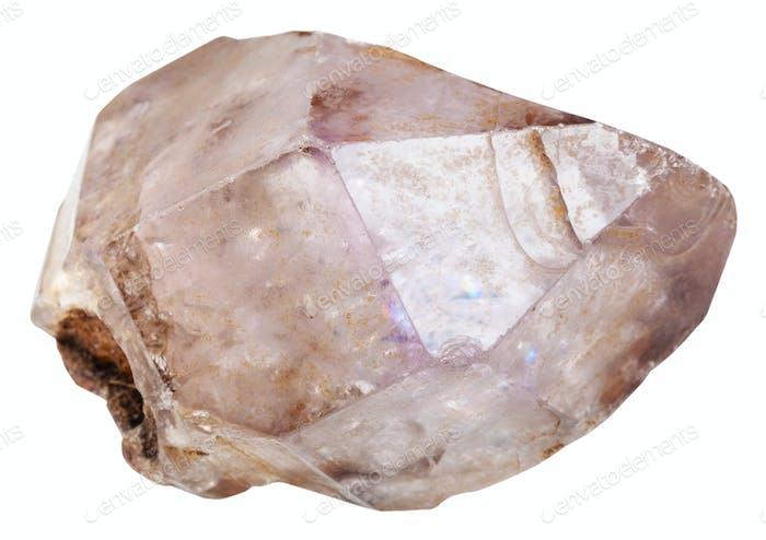 amethyst in quartz crystal isolated