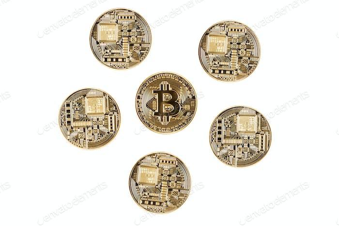 Bitcoins sobre Fondo blanco