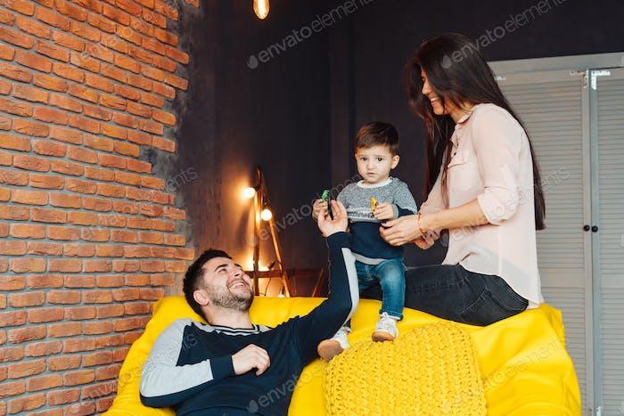 Young family having fun