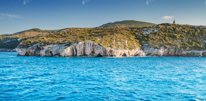 Blue Caves of Zakynthos island Greece view from sea