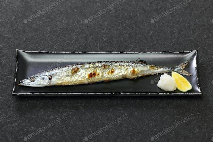 grilled pacific saury, sanma no shio yaki, japanese cuisine