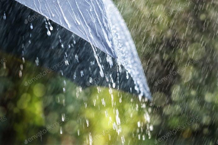 Regen auf Regenschirm