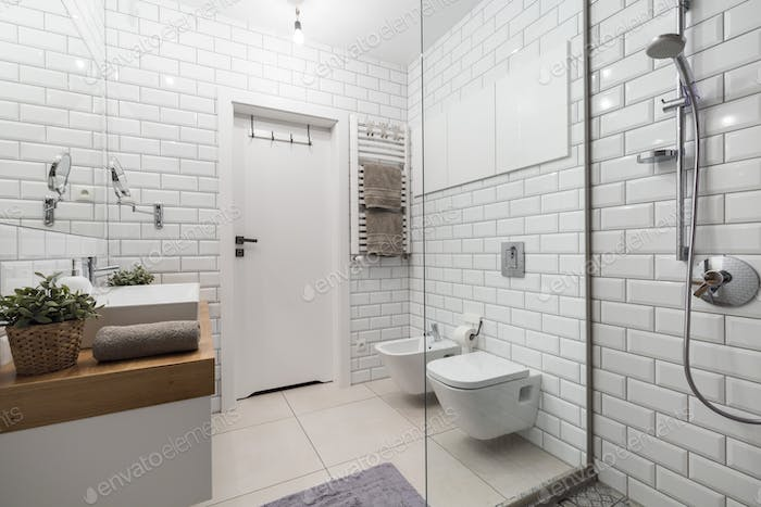 White tiles in modern bathroom