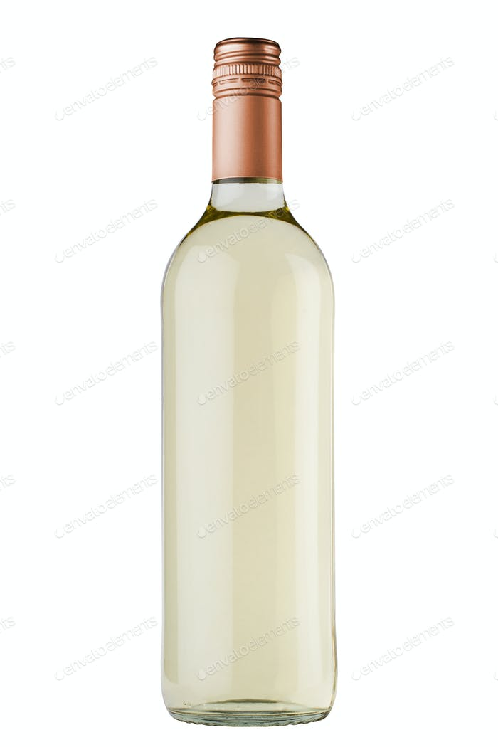 white wine bottle with copper screw cap on white background