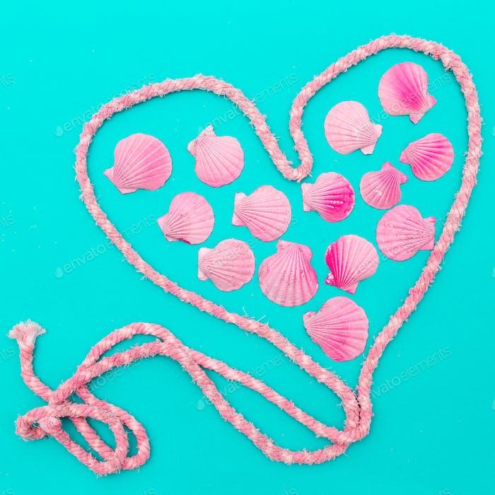 Pink  Shells art Set Marine Style Minimal